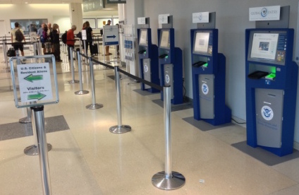 Empty Global Entry Kiosks at an airport