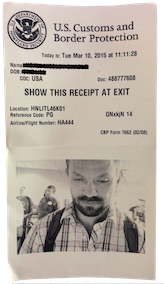 Global Entry Customs and Immigration Ticket