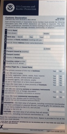 Customs decliration form not needed with NEXUS or Global Entry program membership