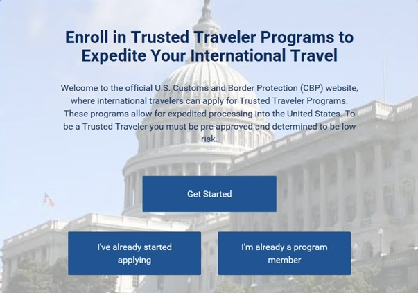 Trusted Traveler Program homepage website